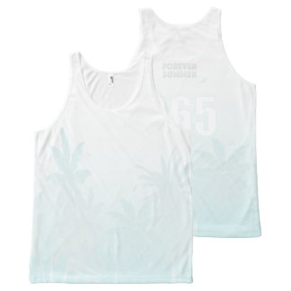 FOREVER SUMMER 365 White Ice Fade Palm Trees All-Over Print Singlet