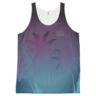 Forever Summer Purple Blue Fade Night Sky Palms All-Over Print Singlet
