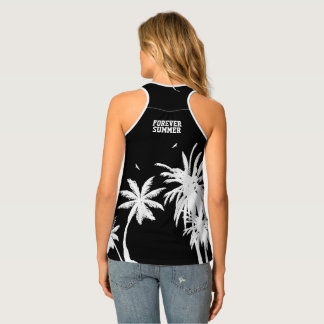 Forever Summer White Palm Trees Night Sky Black Singlet