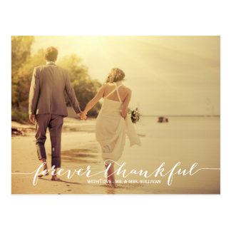 Forever Thankful Photo Wedding Thank You Postcard