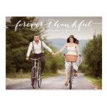 Forever Thankful   White Script Wedding Thank You Postcard