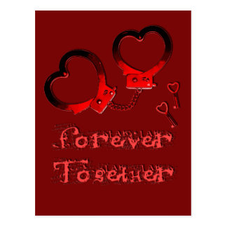 Forever together valentines day design cuffs heart postcard