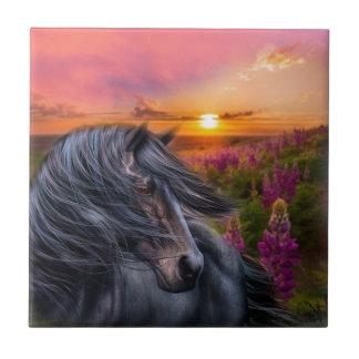 Forever Wild Black Horse Ceramic Tile