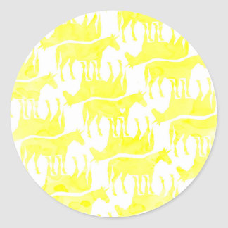Forever Yellow Unicorn Classic Round Sticker