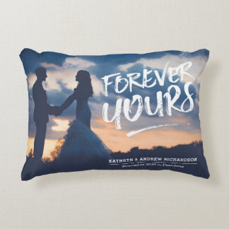 Forever Yours Dry Brush Typography Photo Template Decorative Cushion