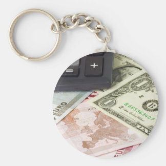 Forex - US and Euro currency pair with calculator Basic Round Button Key Ring