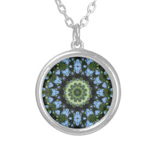 Forget Me Not 001 02.1 Forgetmenot, Nature Mandala Silver Plated Necklace