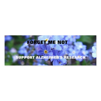 FORGET ME NOT ALZHEIMER'S BOOKMARK BUSINESS CARD TEMPLATES