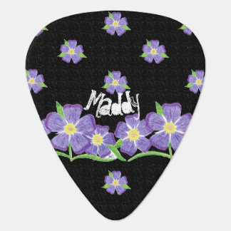 Forget-me-not black personalized guitar pick