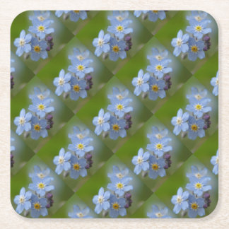 Forget Me Not Blue Myosotis Square Paper Coaster