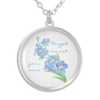 Forget me not Custom Forget Me Not Personalize Silver Plated Necklace