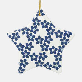 Forget-Me-Not Floral Pattern Ceramic Star Decoration