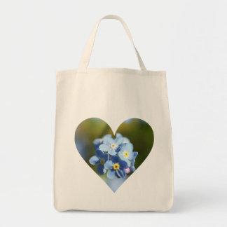 Forget-Me-Not Flower Cluster Filled Heart Tote Bag
