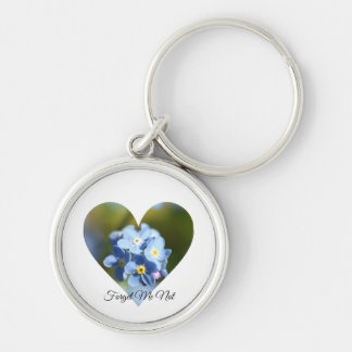 Forget-Me-Not Flower Cluster Heart Key Ring