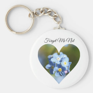 Forget-Me-Not Flowers in a Heart Shape Key Ring