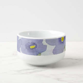 forget-me-not-flowers print soup bowl with handle