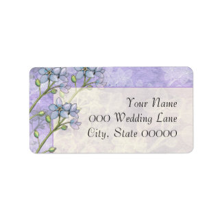 Forget-Me-Not Flowers Purple Green Wedding Address Label