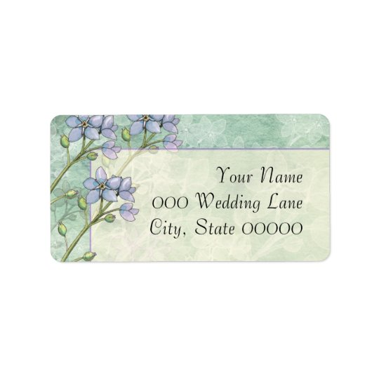 Forget-Me-Not Flowers Purple Green Wedding Label
