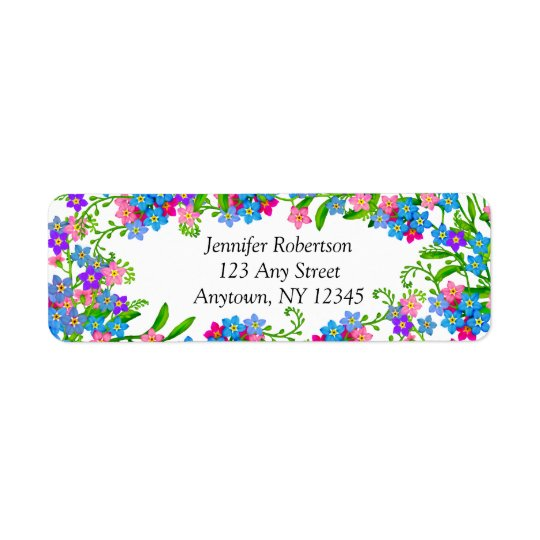 Forget Me Not Garden Flowers Address Labels