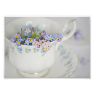Forget-me-not in tea cup Photo Enlargement