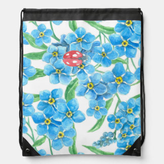 Forget me not seamless floral pattern drawstring bag