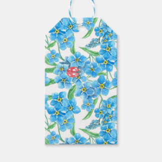 Forget me not seamless floral pattern gift tags