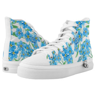 Forget me not seamless floral pattern high tops