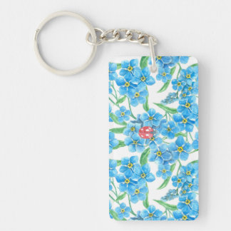 Forget me not seamless floral pattern key ring