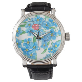 Forget me not seamless floral pattern watch