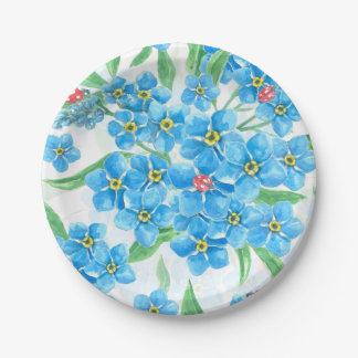 Forget me not seamless pattern 7 inch paper plate