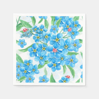 Forget me not seamless pattern disposable napkins