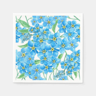 Forget me not seamless pattern disposable serviette