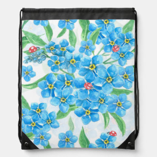 Forget me not seamless pattern drawstring bag