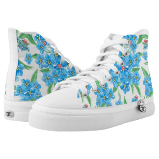 Forget me not seamless pattern high tops