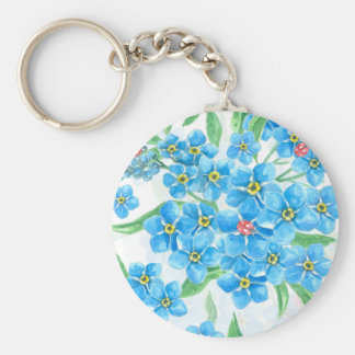 Forget me not seamless pattern key ring