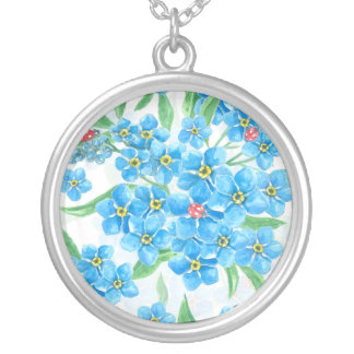 Forget me not seamless pattern silver plated necklace