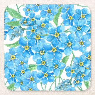 Forget me not seamless pattern square paper coaster