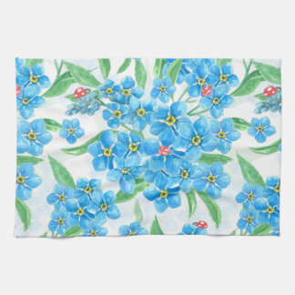 Forget me not seamless pattern tea towel