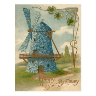 Forget Me Not Windmill Clover Postcard