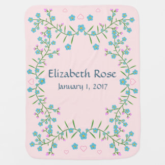 Forget Me Nots and Pink Hearts Baby Name Baby Blanket