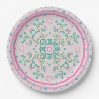 Forget-me-nots and Pink Hearts Floral Mandala 9 Inch Paper Plate