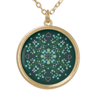 Forget-Me-Nots and Pink Hearts Mandala Gold Plated Necklace