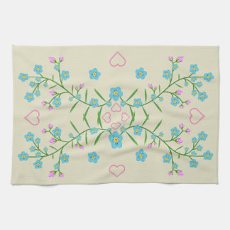 Forget-Me-Nots and Pink Hearts Tea Towel