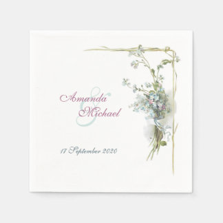 Forget me nots wedding design disposable napkins