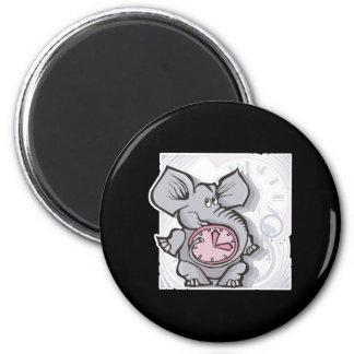forgetful elephant 6 cm round magnet