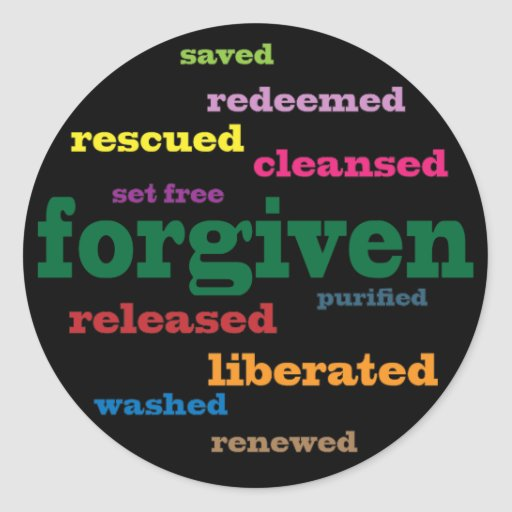 Forgiven Christian stickers (black)
