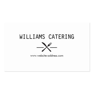 FORK KNIFE INTERSECT LOGO in BLACK and WHITE Business Card Template