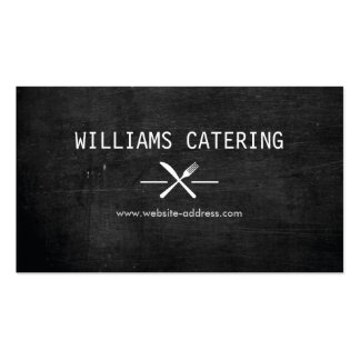 FORK KNIFE INTERSECT LOGO in WHITE on BLACK WOOD Business Card