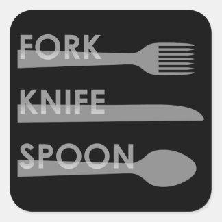 Fork Knife Spoon Square Sticker