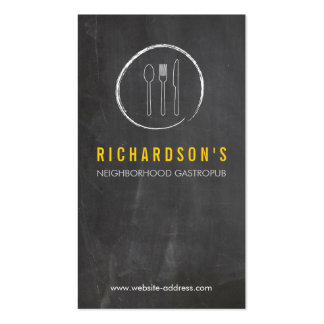 FORK SPOON KNIFE CHALKBOARD LOGO 3 for Restaurant Business Card Templates